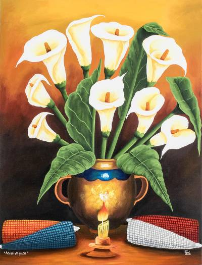 'Thanksgiving' - Still Life Painting of Calla Lilies and Corn from Gutaemala