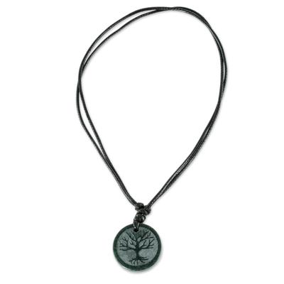 Jade pendant necklace, 'Tree Branches' - Tree Motif Dark Green Jade Pendant Necklace from Guatemala