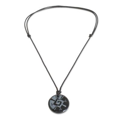 Jade pendant necklace, 'Hunab Ku' - Hunab Ku Symbol Dark Green Jade Pendant Necklace