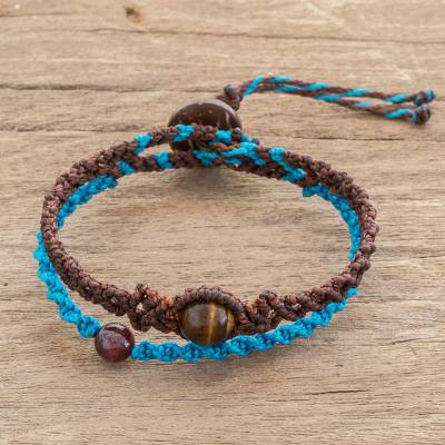 Tiger's eye braided bracelet, 'Walk of Color' - Tiger's Eye Bracelet with Brown and Blue Braided Cord