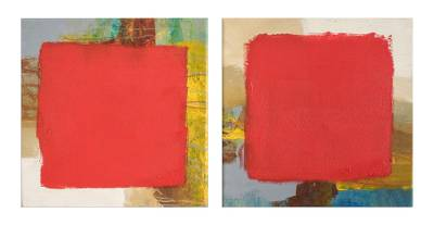 Diptych, 'Diptych' (2018) - Signed Abstract Diptych in Red from El Salvador (2018)