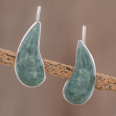 Jade climber earrings, 'Apple Green Guatemalan Drops' - Drop-Shaped Apple Green Jade Climber Earrings from Guatemala