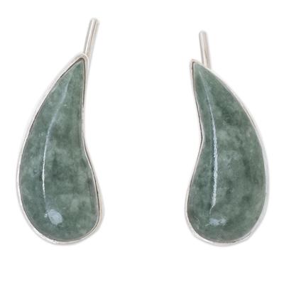 Jade climber earrings, 'Apple Green Guatemalan Drops' - Drop-Shaped Apple Green Jade Climber Earrings from Guatemala