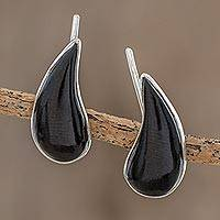 Jade climber earrings, 'Black Guatemalan Drops'