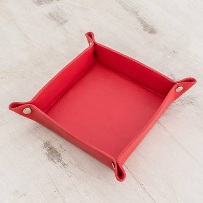 Leather catchall, 'Home Style in Crimson' - Handmade Leather Catchall in Crimson from El Salvador