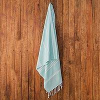 Cotton beach towel, 'Sweet Relaxation in Mint' - Striped Cotton Beach Towel in Mint from Guatemala
