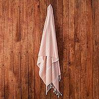 Cotton beach towel, 'Fresh Relaxation in Blush' - Handwoven Cotton Beach Towel in Blush from Guatemala