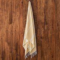 Cotton beach towel, 'Sweet Relaxation in Buttercup' - Striped Cotton Beach Towel in Buttercup from Guatemala