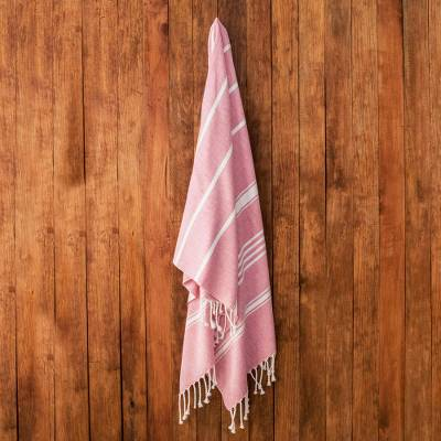 Cotton beach towel, 'Sweet Relaxation in Crimson' - Striped Cotton Beach Towel in Crimson from Guatemala