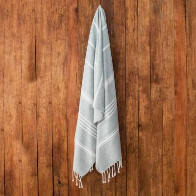 Cotton beach towel, 'Fresh Relaxation in Celadon' - Striped Cotton Beach Towel in Celadon from Guatemala