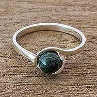 Jade cocktail ring, 'Dark Green Magic Silhouette' - Dark Green Jade Modern Cocktail Ring from Guatemala