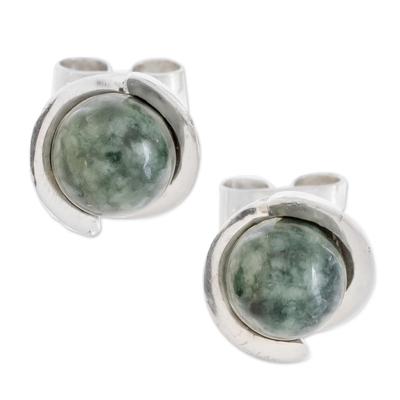 Modern Jade Stud Earrings in Dark Green from Guatemala