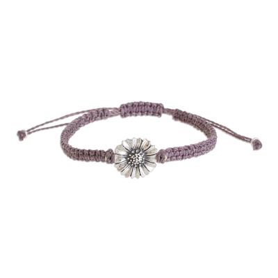 Sterling Silver Daisy Flower Pendant Bracelet