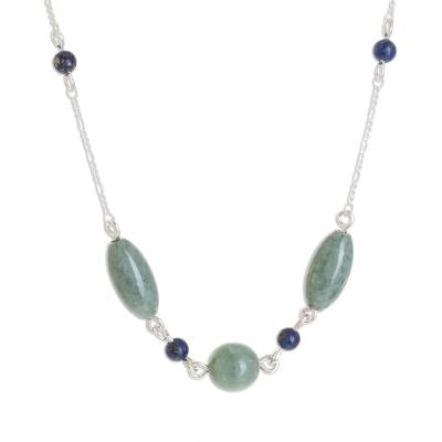 Jade and lapis lazuli pendant necklace, 'Jade Serenity' - Oval Jade and Lapis Lazuli Pendant Necklace from Guatemala