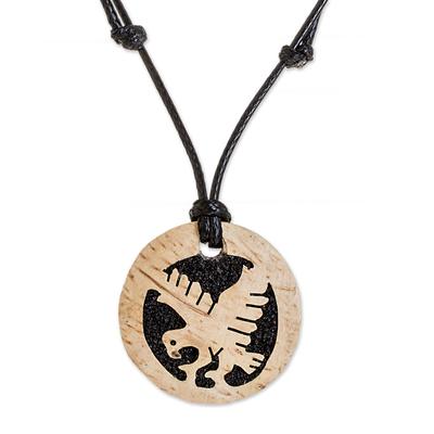 Coconut Shell and Lava Stone Eagle Pendant Necklace