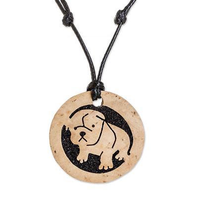 Coconut Shell and Lava Stone Bulldog Pendant Necklace