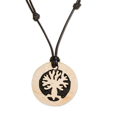 Tree-Themed Coconut Shell and Lava Stone Pendant Necklace