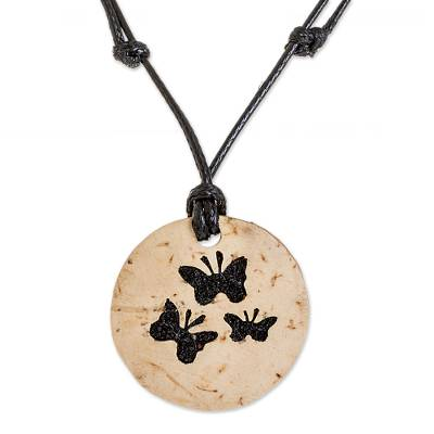 Coconut Shell and Lava Stone Butterfly Pendant Necklace