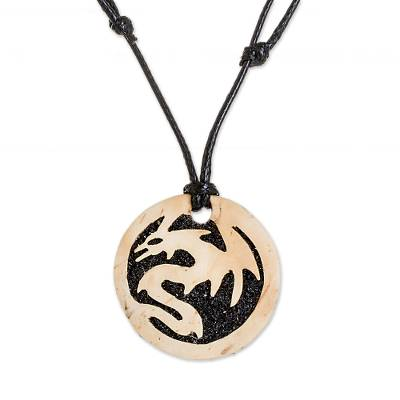 Coconut Shell and Lava Stone Dragon Pendant Necklace