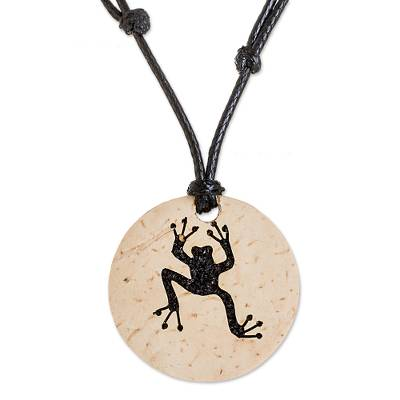 Coconut Shell and Lava Stone Frog Pendant Necklace
