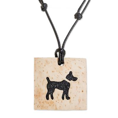 Coconut Shell and Lava Stone Dog Pendant Necklace