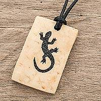 Coconut shell and lava stone pendant necklace, 'Gecko Rectangle' - Coconut Shell and Lava Stone Gecko Pendant Necklace