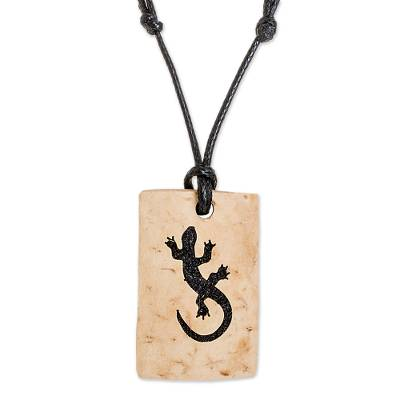 Coconut Shell and Lava Stone Gecko Pendant Necklace