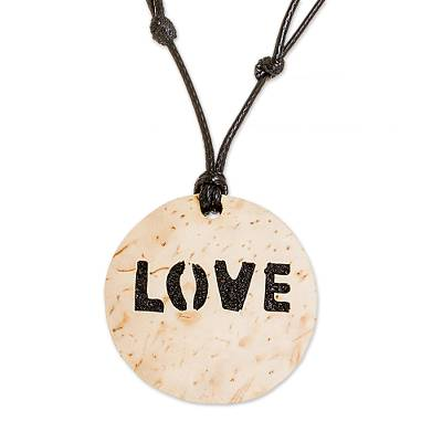 Love-Themed Coconut Shell and Lava Stone Pendant Necklace