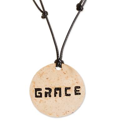 Grace-Themed Coconut Shell and Lava Stone Pendant Necklace