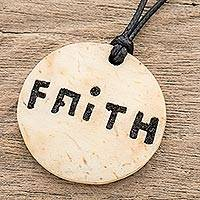 Coconut shell and lava stone pendant necklace, 'Stay Faithful' - Faith-Themed Coconut Shell and Lava Stone Pendant Necklace