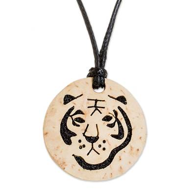 Coconut Shell and Lava Stone Tiger Pendant Necklace