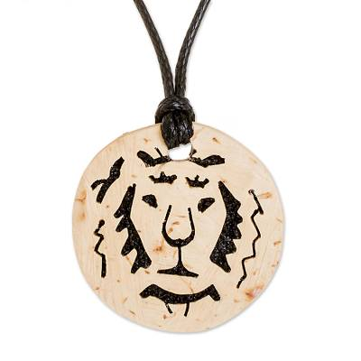 Coconut Shell and Lava Stone Lion Pendant Necklace
