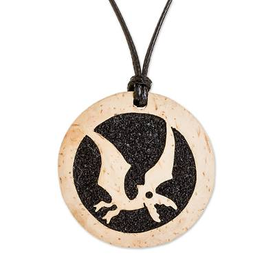 Coconut Shell and Lava Stone Microraptor Pendant Necklace