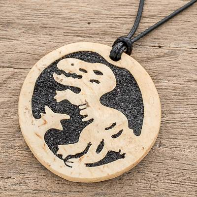 Coconut shell and lava stone pendant necklace, 'Allosaurus' - Coconut Shell and Lava Stone Allosaurus Pendant Necklace