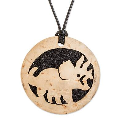 Coconut Shell and Lava Stone Triceratops Pendant Necklace