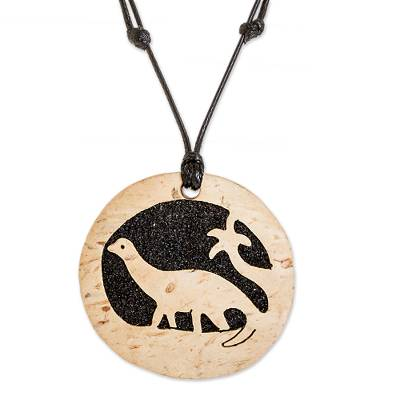 Coconut Shell and Lava Stone Diplodocus Pendant Necklace