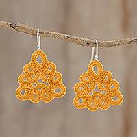 Hand-tatted dangle earrings, 'Petal Essence in Saffron' - Triangular Hand-Tatted Dangle Earrings in Saffron