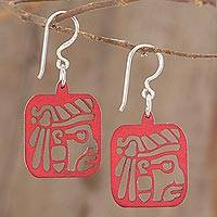 Recycled wood dangle earrings, 'Mayan Essence in Red' - Mayan-Themed Recycled Wood Dangle Earrings in Red