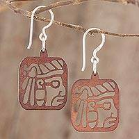 Recycled wood dangle earrings, 'Mayan Essence in Brown' - Mayan-Themed Recycled Wood Dangle Earrings in Brown