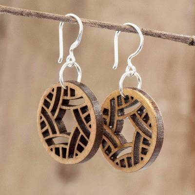Reclaimed wood dangle earrings, 'Imaginative Geometry' - Eco-friendly Wood Dangle Earrings