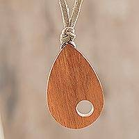 Wood pendant necklace, 'Abstract Enchantment' - Abstract Teardrop Jobillo Wood Pendant Necklace