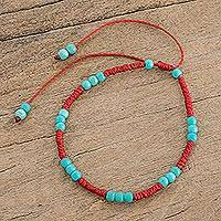 Reconstituted turquoise beaded bracelet, 'Magic Beads' - Reconstituted Turquoise Beaded Bracelet from Guatemala