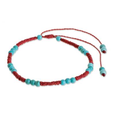 Reconstituted Turquoise Beaded Bracelet from Guatemala