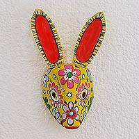 Wood mask, 'Floral Rabbit in Yellow'