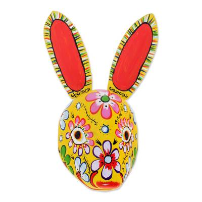 Wood mask, 'Floral Rabbit in Yellow' - Wood Floral Rabbit Mask in Yellow from Guatemala