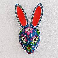 Wood mask, 'Floral Rabbit in Blue'