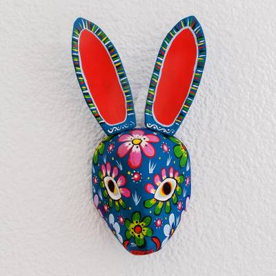 Wood mask, 'Floral Rabbit in Blue' - Wood Floral Rabbit Mask in Blue from Guatemala