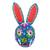 Wood mask, 'Floral Rabbit in Blue' - Wood Floral Rabbit Mask in Blue from Guatemala thumbail