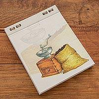 Recycled paper journal, 'Smell of Coffee' (5.5 inch) - Coffee-Themed Journal with Recycled Paper (5.5 in.)