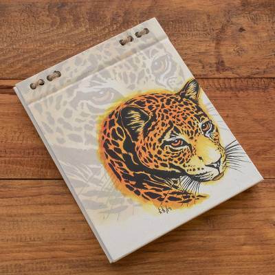 Recycled paper journal, 'Spotted Balam' (5.5 inch) - Jaguar Printed Journal with Recycled Paper (5.5 in.)